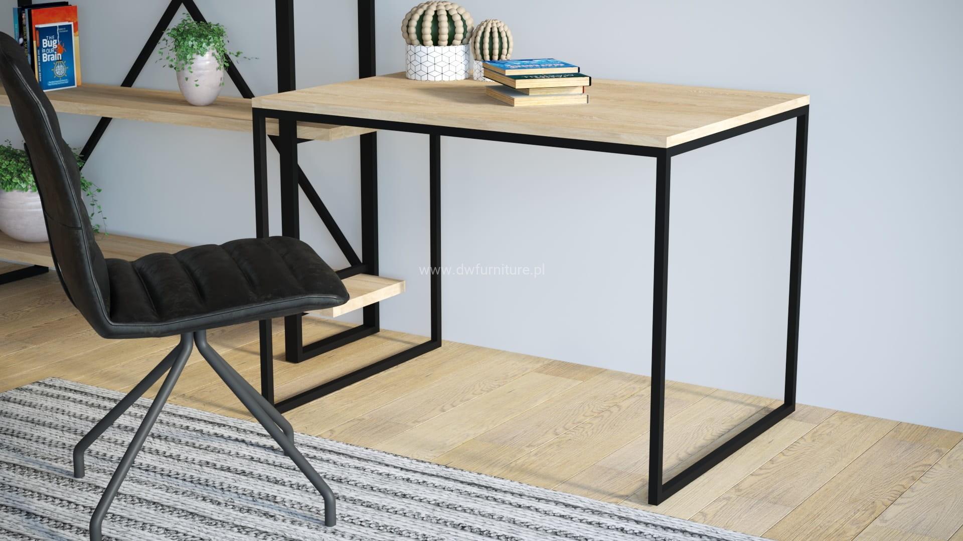 Nowoczesne biurko w stylu loft, drewniany blat, metalowa konstrukcja